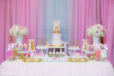 A beautiful Pink Ballerina's First Birthday Party. Just look at the cake! See more party ideas at CatchMyParty.com