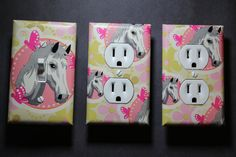 Pink Horse 3 piece Light Switch Plate and Socket Cover set girls boys childs room home decor bedroom pink by ComicRecycled on Etsy