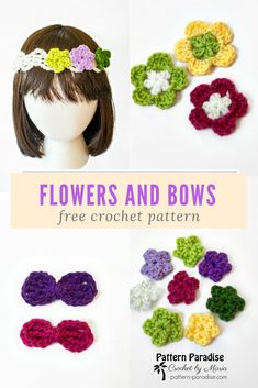 Free Crochet Pattern and video for mini flowers, medium flower and bows by Pattern-Paradise.com #crochet #patternparadisecrochet #headband #freepattern #flowers #bows