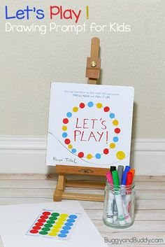 Art for Kids: Invitation to Create inspired by Herve Tullet's children's book, Let's Play! Simple drawing prompt for preschool and on up- great way to encourage bookmaking and creative confidence! ~ http://BuggyandBuddy.com