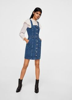 d3d9fbfb7f Pocket denim pinafore dress by Mango