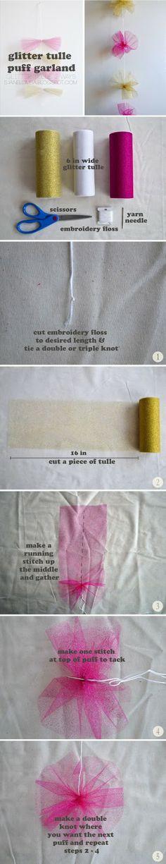 S. JANE CRAFT!: Glitter Tulle Garlands 2 Ways - Puff Garland