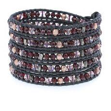 Garnet Mix Crystal Wrap Bracelet on Gunmetal Leather