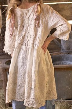 Authentic Magnolia Pearl Lucienne Ivory Embroidered Boho Hippie Dress #MagnoliaPearl #Casual