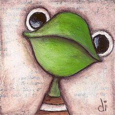 Original Mini Frog Painting on wood block