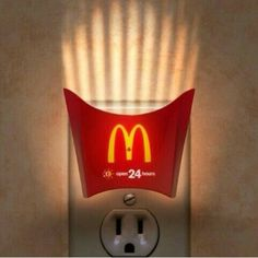 McDonalds actually does a brilliant job of being creative with its advertisements. My personal favorite is the McDonalds french fry container night light because it is trying to convey that some McDonald's locations are open