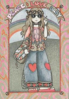 ➳➳➳☮American Hippie Art - Peace Love Baby