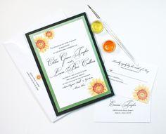 Custom watercolor wedding invitations by artist Michelle Mospens. 100% original sunflowers art. | Mospens Studio