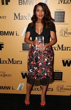 Photo: @kerry washington a Lucy Award Winner last night & a winner in that @Kelly McGinn dress.