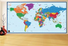Here is removable world map wall mural for both room decoration and geography educational purpose. It is high quality matte self-adhesive vinyl