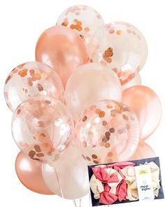 Confetti is set inside the clear balloons, ready to inflate. 6 x Rose gold confetti filled clear balloons. 14 x Rose gold & Perl white mixed balloons. Order enough to make sure your party plan won't pop! Birthday Roses, Gold Birthday Party, Birthday Parties, 14th Birthday Party Ideas, 30th Birthday Balloons, Pink Gold Party, 13th Birthday, Rose Gold Theme, Rose Gold Decor