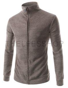 (JGA28-BEIGE) Mens Slim Fit Basic Knitwear Casual Turtle Neck Zip-up Cardigan Sweater