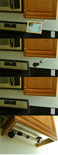 Unique space saving design. Now you see it, Now you don't. Enjoy  tablet in the kitchen without the clutter.
