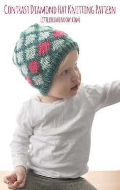 The Contrast Diamond Hat knitting pattern has a cute allover diamond fair isle pattern with a fun row of contrasting diamonds in another bright color! This hat will be so cute on your baby or toddler! Baby Hat Knitting Pattern, Fair Isle Knitting Patterns, Baby Hat Patterns, Baby Hats Knitting, Free Knitting, Knitted Hats, Diy Knitting Projects, Easy Knit Hat, Contrast