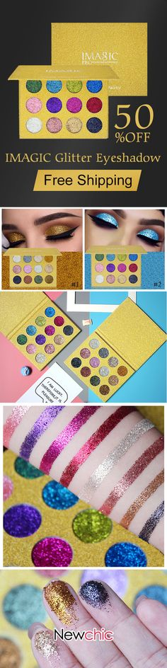 IMAGIC Glitter Eyeshadow Magnet Palette Diamond Rainbow Make Up Cosmetic Eye Shadow