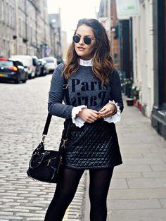 The Little Magpie Topshop Paris Jumper 4 Leather Skirt b84312d18