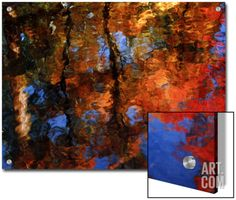 Reflection of Red Maples and Blue Sky in Creek, Sedona, Arizona, USA Art on Acrylic by Margaret L. Jackson at Art.com