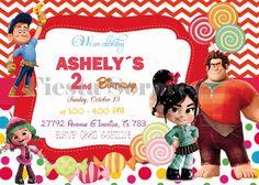 INVITACIONES DE RALPH EL DEMOLEDOR | Disney El Demoledor, Ralph Invitacion, Vanellope Cumpleaños, Fiesta ...