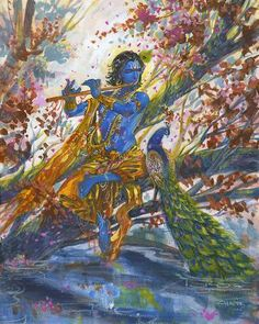 Krishna and the flute. Painting by Indian artist Abhishek Singh. Gouache & Acrylic on Archival Paper. Shree Krishna Wallpapers, Radha Krishna Wallpaper, Radha Krishna Pictures, Lord Krishna Images, Arte Krishna, Krishna Radha, Krishna Leela, Krishna Drawing, Krishna Painting