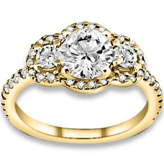1.10 ctw 14k YG Natural H-I Color, SI Clarity, Accent Diamonds Engagement Rings #diamondrings #rings #engagementrings @pricepointshop
