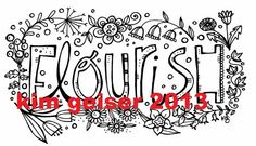 Flourish Digital Download by Kimgeiserstudio on Etsy (Art & Collectibles, Prints, flourish, flowers, floral, black and white, clip art, pattern, coloring page, craft, scrapbook, digital stamp, digital, print, whimsical)