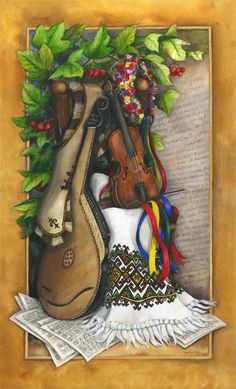 """""""Celebrating Our Culture"""" Commissioned for the 80th anniversary of the UkrainianNational Federation of  Canada (est. Edmonton, 1932),Larisa Sembaliuk Cheladyn's watercolour is a reflection of the ties between the ancestral and new homeland that inspired the Federation's founders and their work."""