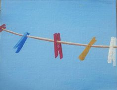 Clothes Pegs Oil in Canvas Dublin, Ireland by Marie Armstrong O'Leary MAOL Art inches Painting of a time I was sun lounging on the roof of apartment while on holidays. And my view in Torreveija, Spain was the clothes pegs against that holiday blue sky. Oil Paintings, Original Paintings, Clothes Pegs, Irish Art, Holiday Pictures, Canvas Board, Dublin, Oil On Canvas, Sky