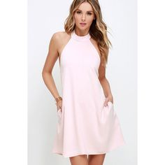 I Need a Hero Light Pink Halter Dress ($58) ❤ liked on Polyvore featuring dresses, pink, open back halter top, tie neck halter dress, halter neckline dress, open back dress and halterneck dress