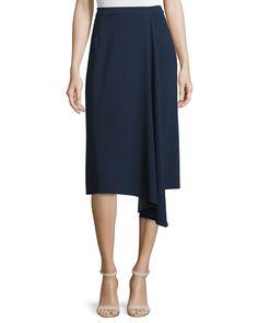 Asymmetric Faux-Wrap Skirt, Midnight Blue, Women's, Size: 12/42 - Escada