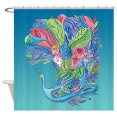 Peacock Shower Curtain  Peacock Affection  by ArtfullyFeathered