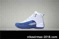b70056a42f2240 Kid s Air Jordan 12 White Blue Hot Youths Sneaker Jordan Shoes For Sale