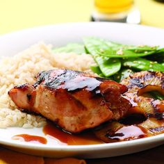 Grilled teriyaki chicken with pineapple can be made with just a few pantry staples. Although it's delicious when made with canned pineapple, fresh pineapple and its juice can easily be used in its place. Serve with brown rice and snow peas.