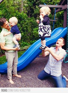 "David Burtka and Neil Patrick Harris with their kids...one of the most adorable portraits EVER!! (and proof that gay parents can be just as loving and effective as ""normal"" parents.)"