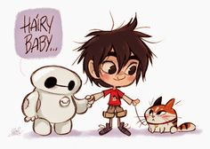 David Gilson: Chibi Baymax, Hiro kiddo & Hairy baby from Disney's Big Hero 6