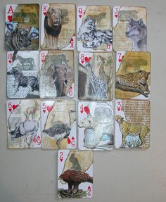 Altered Playng Cards Playing Card Crafts, Playing Cards Art, Vintage Playing Cards, Atc Cards, Card Tags, Paper Art, Paper Crafts, Art Trading Cards, Artist Card