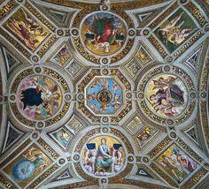 Raphael, the ceiling in Stanze di Raffaello 1508-1509, Stanza della Segnatura, pin by Pei-Lun