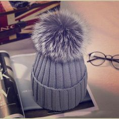 Winter Wool Knitted Faux Fur Pom Beanie Grey Faux Fox Fur Pom Beenie........ Comes in package....(not from listed brand, I do that for exposure) Nasty Gal Accessories Hats