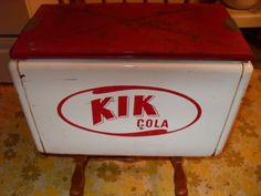 VINTAGE KIK COLA PICNIC COOLER Vintage Cooler, Soda Brands, Picnic Cooler, Gumball Machine, Drink Bottles, Canning, Coolers, Drinks, Classic
