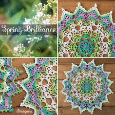 """This doily is 18 rounds and measures about 10 1/2"""". I used Alize Miss Batik thread in the colorway 3708.   Materi..."""