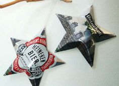 How to make metal star ornaments from old cans