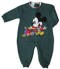 Disney Store Baby Mickey Mouse Train Fleece Long Romper 18 months NW
