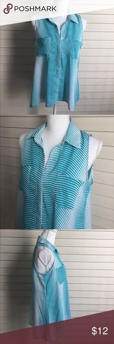"Notations Teal Stripes Sleeveless Blouse 19"" bust and 25"" long in the front and 29"" in the back. 100% polyester. Semi sheer Notations Tops Blouses"
