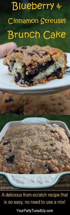 BLUEBERRY AND CINNAMON STREUSEL BRUNCH CAKE. This simple recipe that combines berries and a streusel topping should be perfect as a coffee cake, snack or light dessert. What's For Breakfast, Breakfast Dishes, Breakfast Fruit, Simple Breakfast Recipes, Breakfast Casserole, Just Desserts, Dessert Recipes, Kabob Recipes, Fondue Recipes