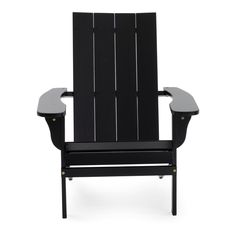 Belham Living Portside Modern Adirondack Chair - Black Image 1 of 3 Outdoor Wood Furniture, Modern Outdoor Chairs, Outdoor Living, Outdoor Spaces, Farmhouse Chairs, Modern Farmhouse Decor, Farmhouse Layout, Brown Armchair, Dining Chair Slipcovers
