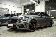 Mercedes CLS63s AMG in dark-grey matte wrap  Оклейка в тёмно-серый матовый металлик