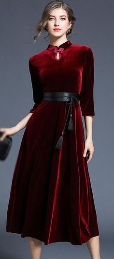 Vintage Stand Collar Belted Velour Maxi Dress
