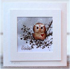 handmade card from Birgit: IC527 It�s Owl Good ... framed look ... owl in winter scene ...