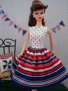 Handmade Vintage Barbie Doll Clothes by Brenda Red White Blue Stripe Dress | eBay