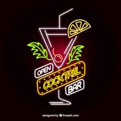More than 3 millions free vectors, PSD, photos and free icons. Exclusive freebies and all graphic resources that you need for your projects Cocktail Bar Design, Cocktail Book, Kombi Food Truck, Banners, Neon Sign Art, Pool Signs, Neon Words, Bar Logo, Graffiti