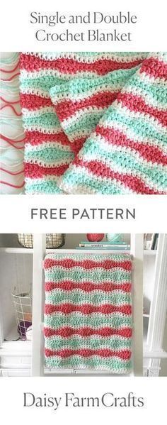 Crochet Iphone FREE PATTERN Single and Double Crochet Blanket by Daisy Farm Crafts - I'm too in love with this blanket to not share the pattern right away! Even though the blanket isn't finished,… Baby Girl Crochet Blanket, Crochet Blanket Patterns, Crochet Baby, Crochet Blankets, Baby Blankets, Crochet Afghans, Crochet Stitches, Knitting Patterns, Crochet Ripple
